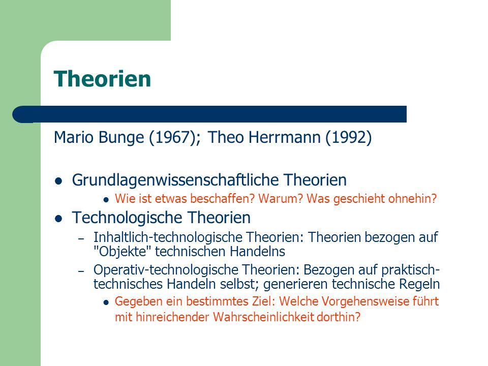 Technologische Theorien Kriterien – Nützlichkeit – Effizienz – Verlässlichkeit – Routinisierbarkeit Th.
