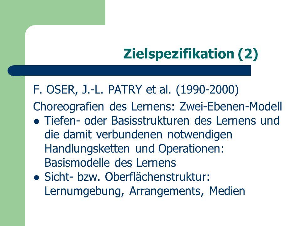 Lernzieltypen sensu OSER (1) Lernzieltypen (keine Hierarchisierung, keine Formulierungsanforderungen) Aneignung von Erfahrungswissen Aneignung durch Suchprozesse in der Wirklichkeit Transformation von Tiefenstrukturen Lernen durch Versuch und Irrtum Aufbau von memorisierbaren Fakten, verstehbaren Sachverhalten Aufbau von vernetztem Wissen