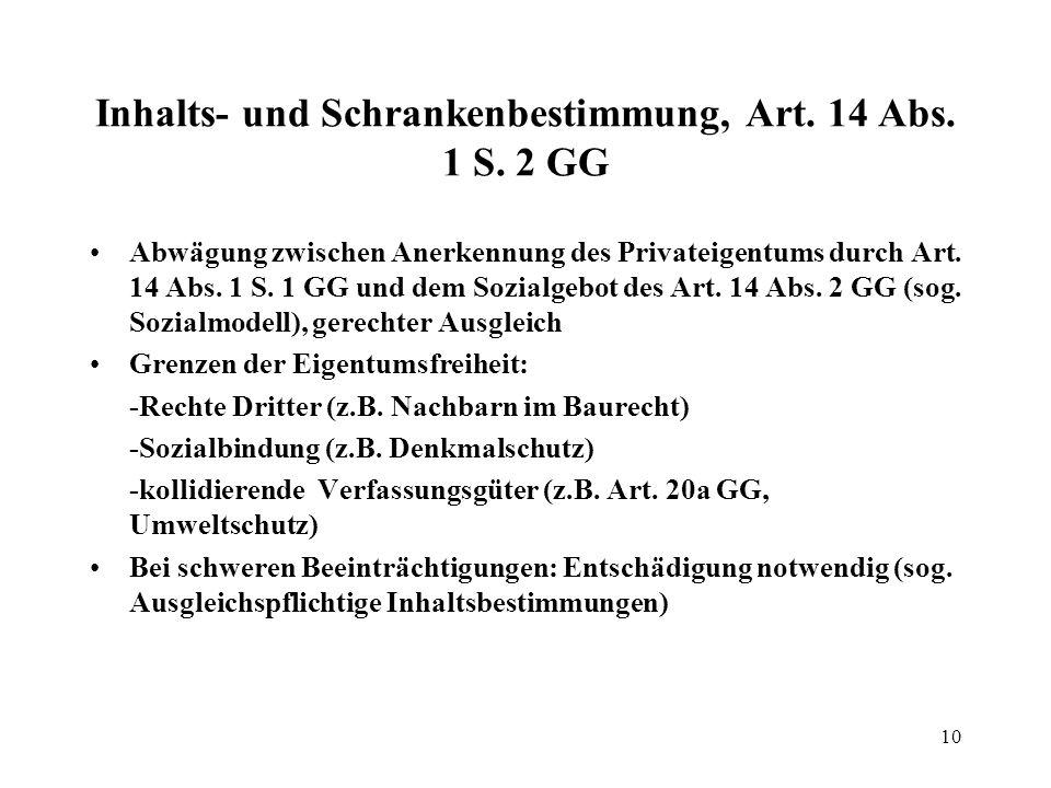 11 Enteignung, Art.14 Abs.
