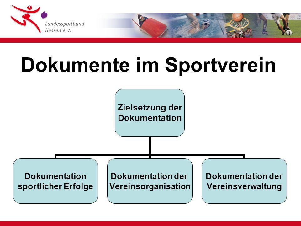 Mindestkatalog Sportvereine I Satzungen Ehrungsordnung, Sonstige Ordnungen Protokolle Vorstand / Abteilungen / Ausschüsse Protokolle Mitgliederversammlung incl.