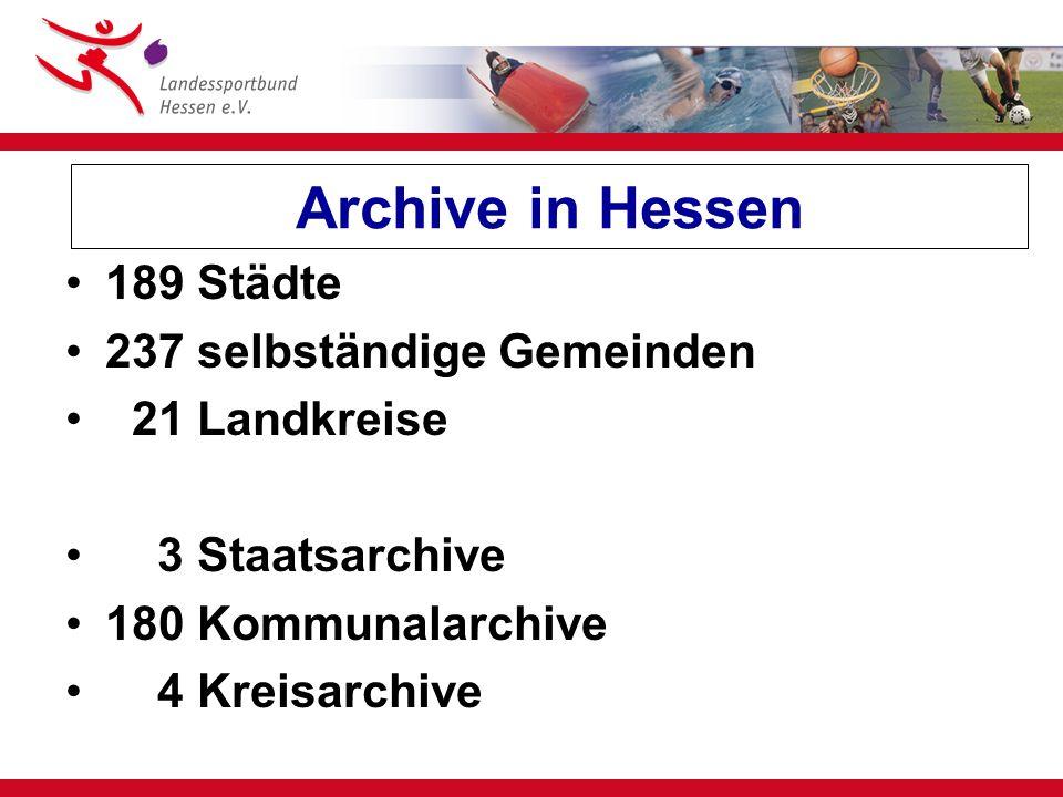 Kooperation bei der Archivierung Sportverein A Sportverein B Sportverein C Kommunalarchiv Minimalkatalog