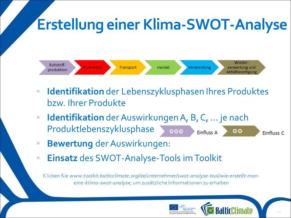 12 Beispiel einer Klima-SWOT-Analyse Jedes Produkt weist einige wichtige klimabezogene Stärken und Chancen der der Rohstoffproduktion und beim Transport auf.