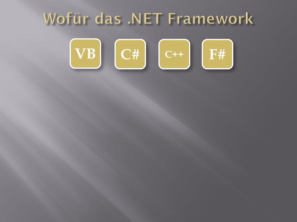 VB C# C++ F# Common Intermediate Language Mit sprachübergreifenden Datentypen Hier ist schon mal in eine Universalsprache vereinfacht Common Intermediate Language Mit sprachübergreifenden Datentypen Hier ist schon mal in eine Universalsprache vereinfacht