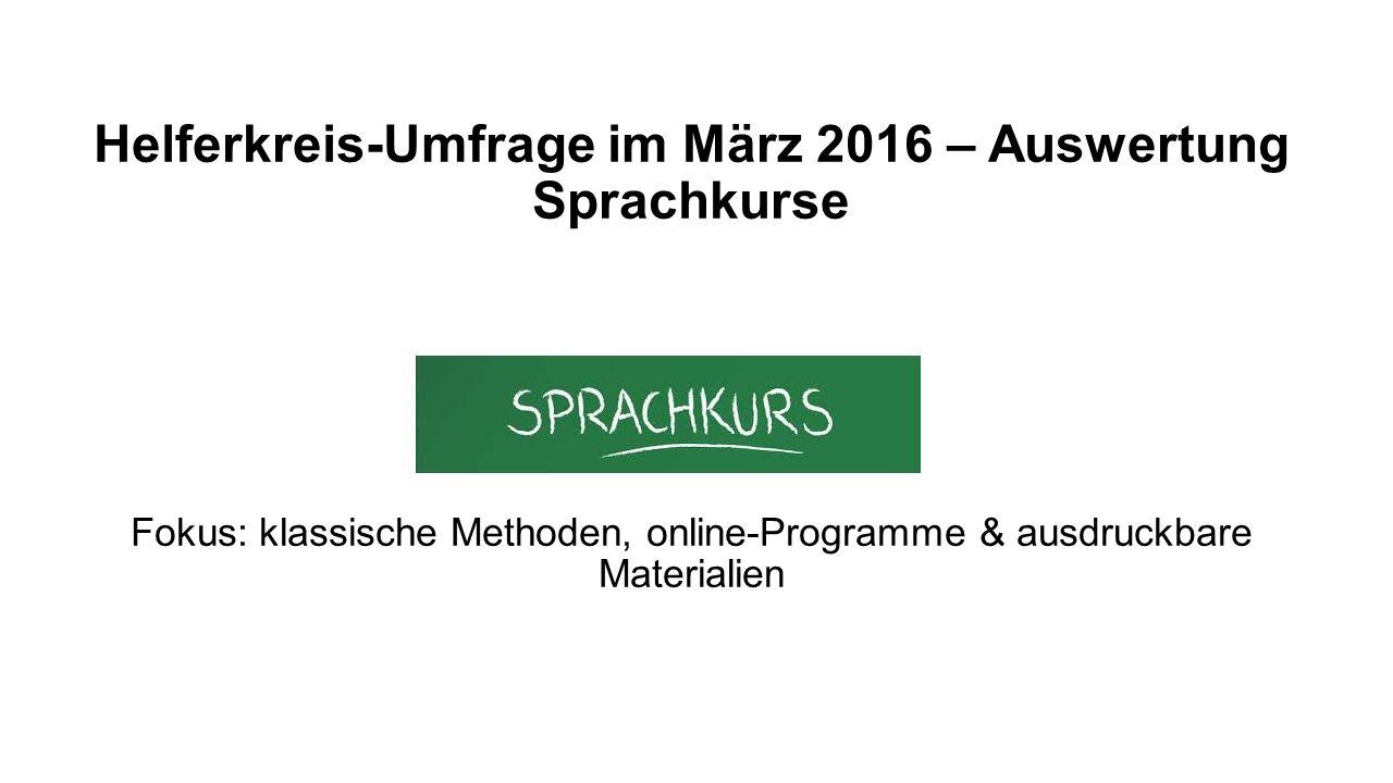 Umfrage bei 578 Helferkreisen bzw. Flüchtlingsinitiativen in Deutschland und Österreich Überblick