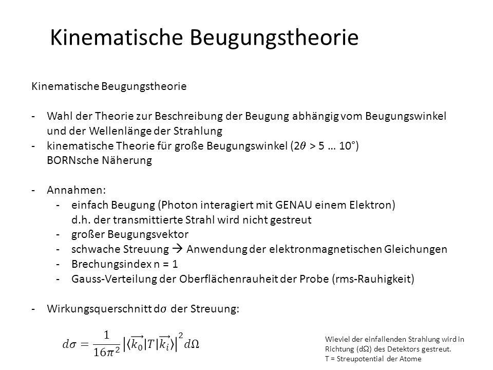 Kinematische Beugungstheorie -bei großen Eindringtiefen, kommt es zu starker Streuung: kinematische Theorie kann ihre Gültigkeit verlieren -in dünnen Schichten (1 … 10 µm) ist die Streuung schwach, d.h.