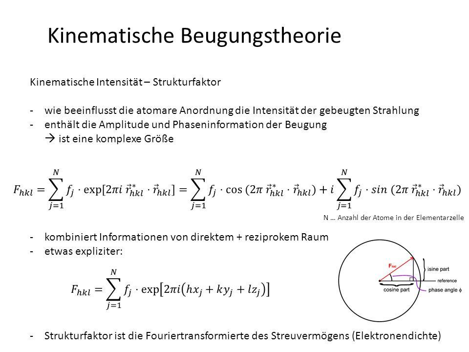 Kinematische Beugungstheorie Strukturfaktor – atomare Streufaktoren -das Streuvermögen des Atoms, gegeben durch den Aufbau seiner Elektronenhülle, beschreibt der atomare Streufaktor -f i sind üblicherweise als Funktion von sin  / tabelliert -analytische Annäherung möglich: -a i, b i und c sind tabellierte Werte (berechnet mit dem Hartree-Fock-Modell)