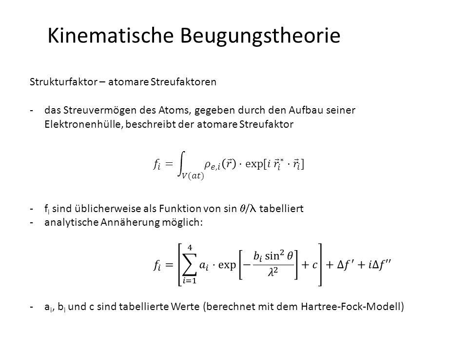 Kinematische Beugungstheorie Strukturfaktor – atomare Streufaktoren O Cl K+K+ Cl -