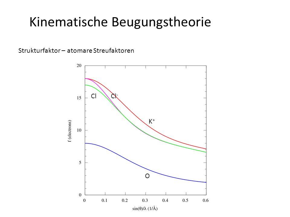 Kinematische Beugungstheorie Strukturfaktor – atomare Streufaktoren Korrekturen des atomaren Streufaktors im Bereich von Resonanzen (Anregungen): -f' = Korrektur anomaler Absorption -f'' = Korrektur anomaler Dispersion -anomale Effekte