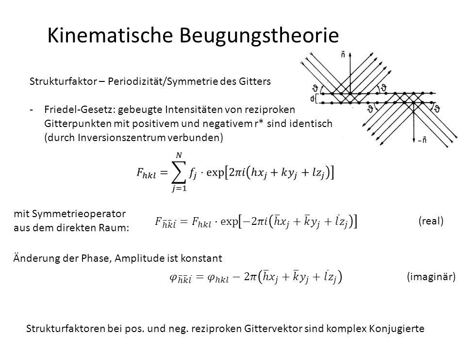 Kinematische Beugungstheorie Strukturfaktor – Periodizität/Symmetrie des Gitters Konsequenzen: -Punktsymmetrie eines Objektes bleibt bei der Beugung erhalten  Punktgruppe des Beugungsbildes (= Laue-Klasse) ist zentrosymmetrische Grundbestandteil der Punktgruppe des Kristalls