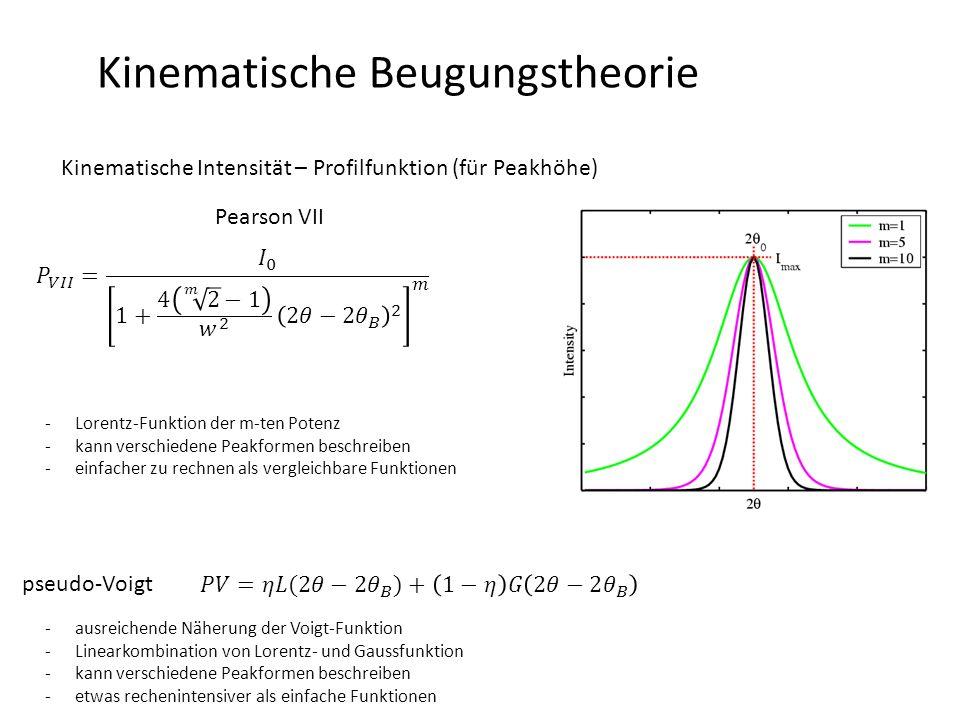 Kinematische Beugungstheorie Kinematische Intensität – Debye-Waller-Faktor -Atome werden durch Phononen aus ihren eigentlichen Gitterpositionen ausgelenkt -Variation der Elektronendichteverteilung modifiziert das Streuvermögen der Atome -Schwingung kann isotrop (Vernachlässigung der Umgebung) oder ein Ellipsoid sein -nur bei T = 0, sollten Atome statisch im Gitter liegen -Zeitskala des Beugungsexperiments >> Zeitskala der atomaren Schwingung (zeitliches Mittel der Atomposition ausreichend) -Wenn isotrop angenommen: Gauss-Funktion beschreibt Aufenthaltswahrscheinlichkeit