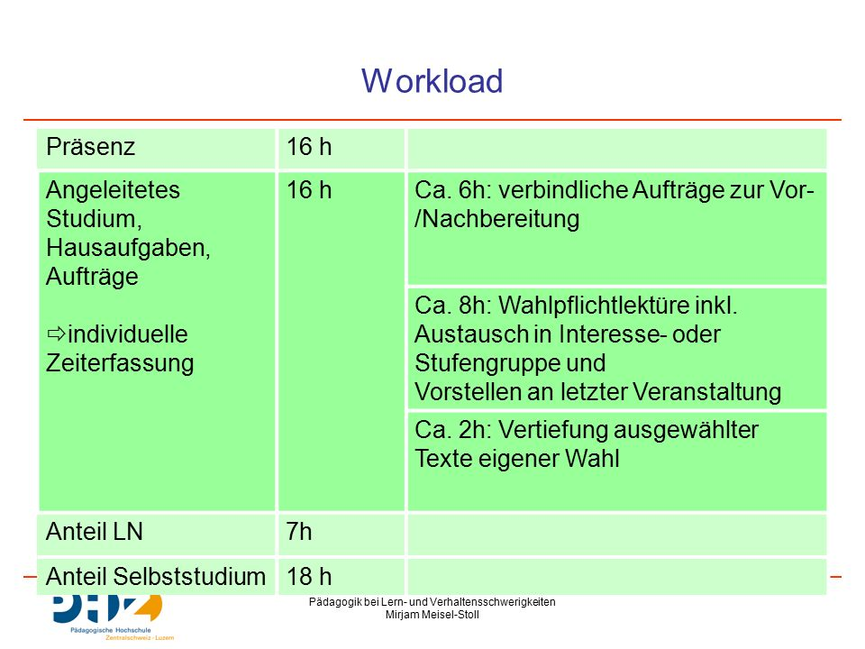 Pädagogik bei Lern- und Verhaltensschwerigkeiten Mirjam Meisel-Stoll Wahlpflichtlektüre (ca.