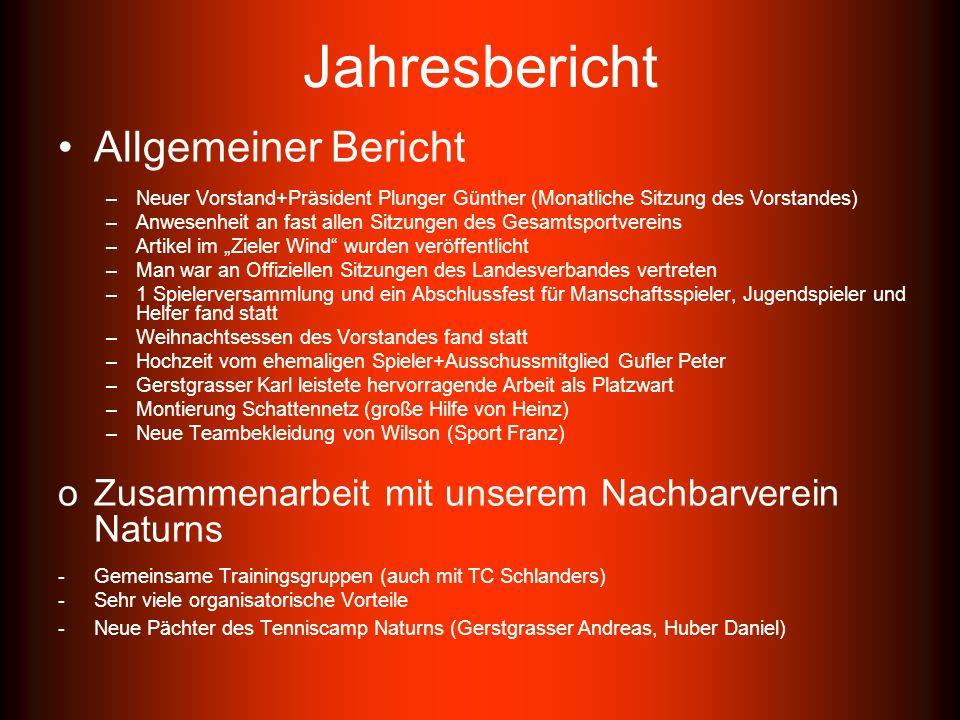 Jahresbericht Sportlicher Bericht –2 Südtiroler Wintercupmannschaften (1 Viertelfinale, 1 Vorrunde) –Wintercup Serie C wurde gespielt –Damenmanschaft schafft es als Gruppensieger in die Aufstiegsrunde (für Serie C) –Herrenmanschaft erreicht Aufstiegsrunde (scheitert an LM TC Bruneck) –VSS Over 35 der Herren gewinnt die Meisterschaft –Auch VSS Seniorencup erreicht den 2.