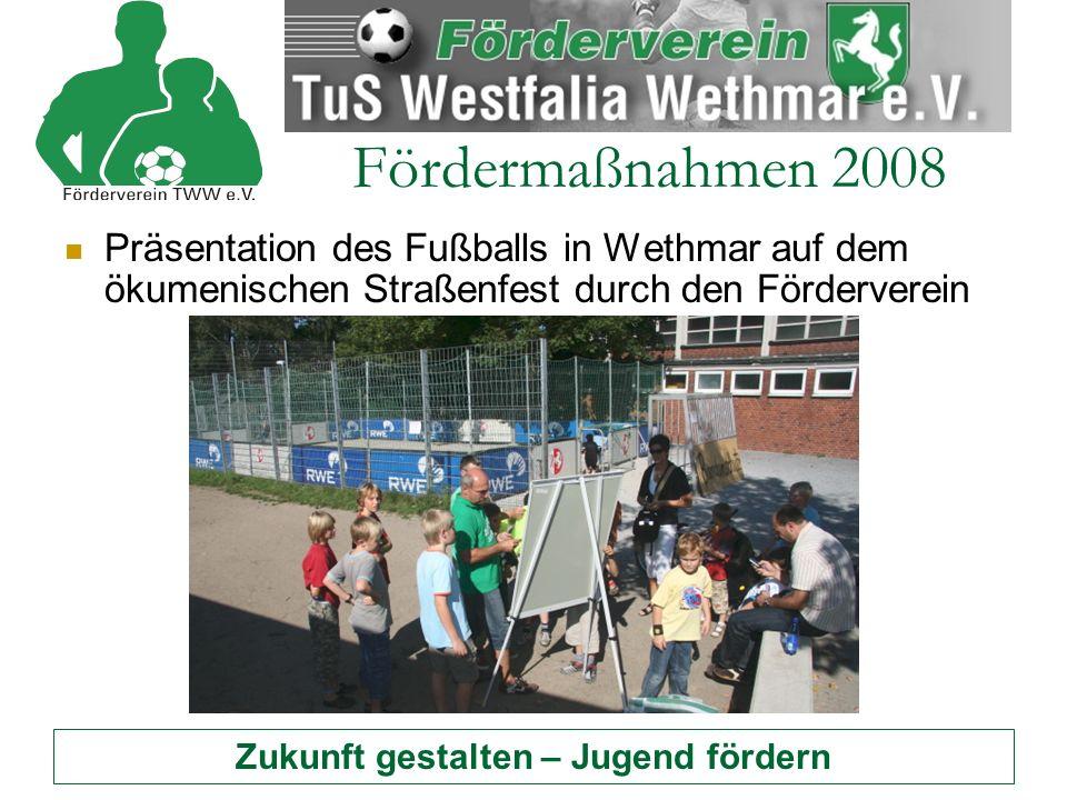 "Zukunft gestalten – Jugend fördern Fördermaßnahmen 2008 ""Fair spielen - Fair handeln : Unterstützung der Aktion ""fair gehandelte Bälle"
