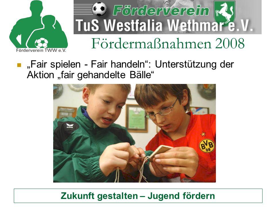 Zukunft gestalten – Jugend fördern Fördermaßnahmen 2008 Beschaffung von Trainingshilfen – nicht nur für die Juniorenabteilung