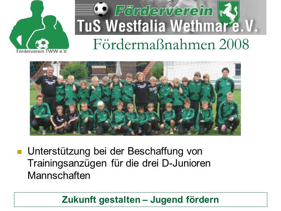 Zukunft gestalten – Jugend fördern Fördermaßnahmen 2008 Unterstützung des Trainingslagers der A- und B- Junioren in Hamm