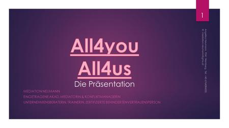 All4you All4us Die Präsentation