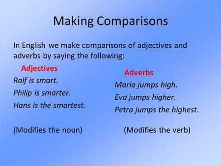 Making Comparisons In English we make comparisons of adjectives and adverbs by saying the following: Adjectives Ralf is smart. Philip is smarter. Hans.
