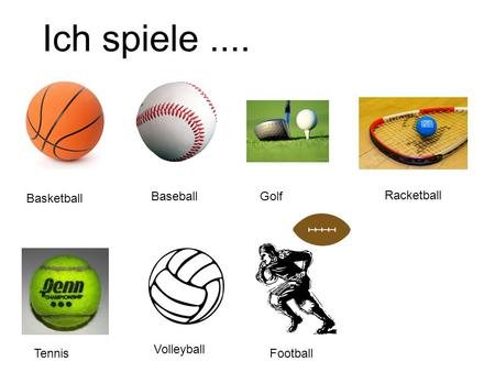 Ich spiele.... Basketball BaseballGolf Racketball Tennis Volleyball Football.