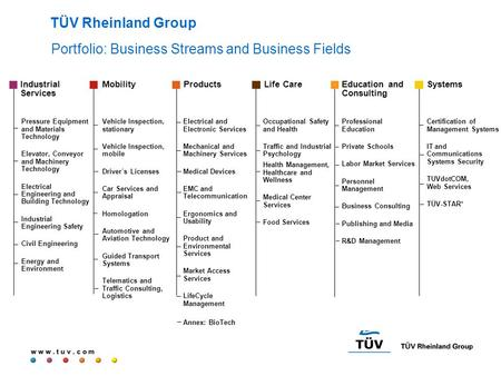 W w w. t u v. c o m Portfolio: Business Streams and Business Fields TÜV Rheinland Group Certification of Management Systems IT and Communications Systems.