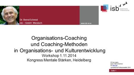CC-by-Lizenz, Autor: Bernd Schmid für isb-w.euisb-w.eu Systemische Professionalität 2014 www.isb-w.eu Organisations-Coaching und Coaching-Methoden in Organisations-