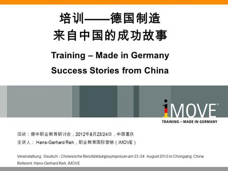 Training – Made in Germany Success Stories from China