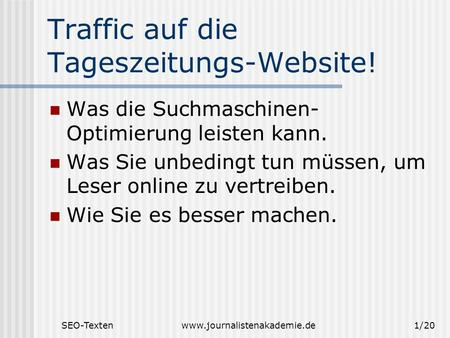 SEO-Textenwww.journalistenakademie.de1/20 Traffic auf die Tageszeitungs-Website! Was die Suchmaschinen- Optimierung leisten kann. Was Sie unbedingt tun.