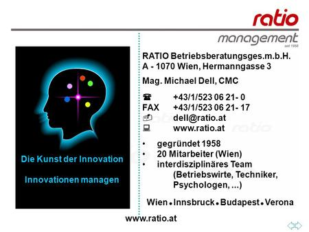 RATIO Betriebsberatungsges.m.b.H. A - 1070 Wien, Hermanngasse 3 Mag. Michael Dell, CMC  +43/1/523 06 21- 0 FAX+43/1/523 06 21- 17 