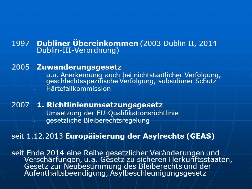 1997 Dubliner Übereinkommen (2003 Dublin II, 2014 Dublin-III-Verordnung) 2005 Zuwanderungsgesetz - - u.a.