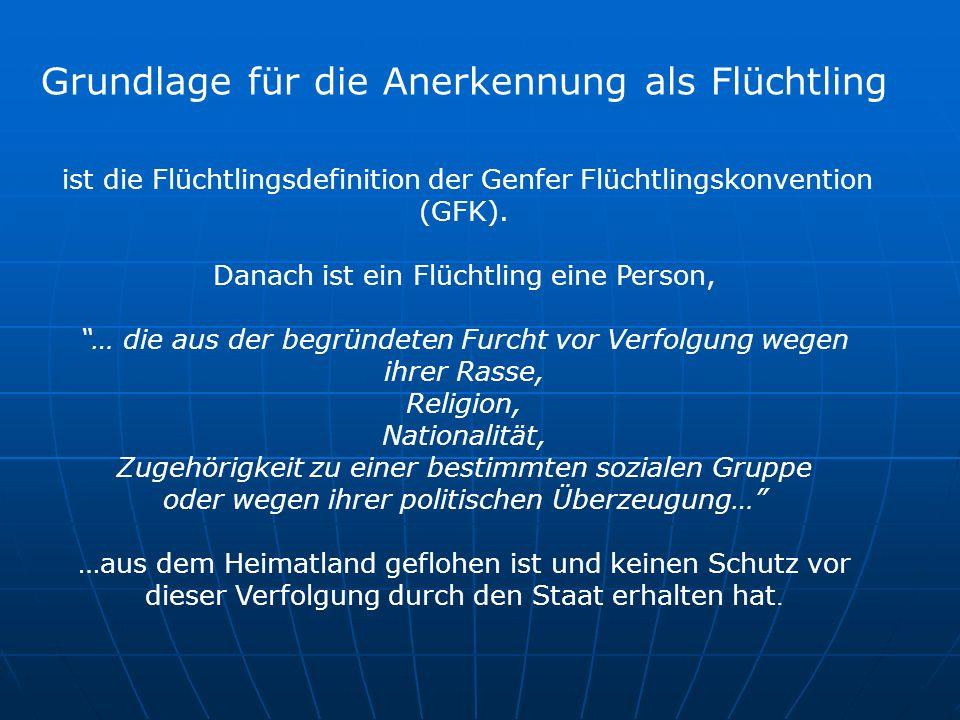 Grundlage für die Anerkennung als Flüchtling ist die Flüchtlingsdefinition der Genfer Flüchtlingskonvention (GFK).