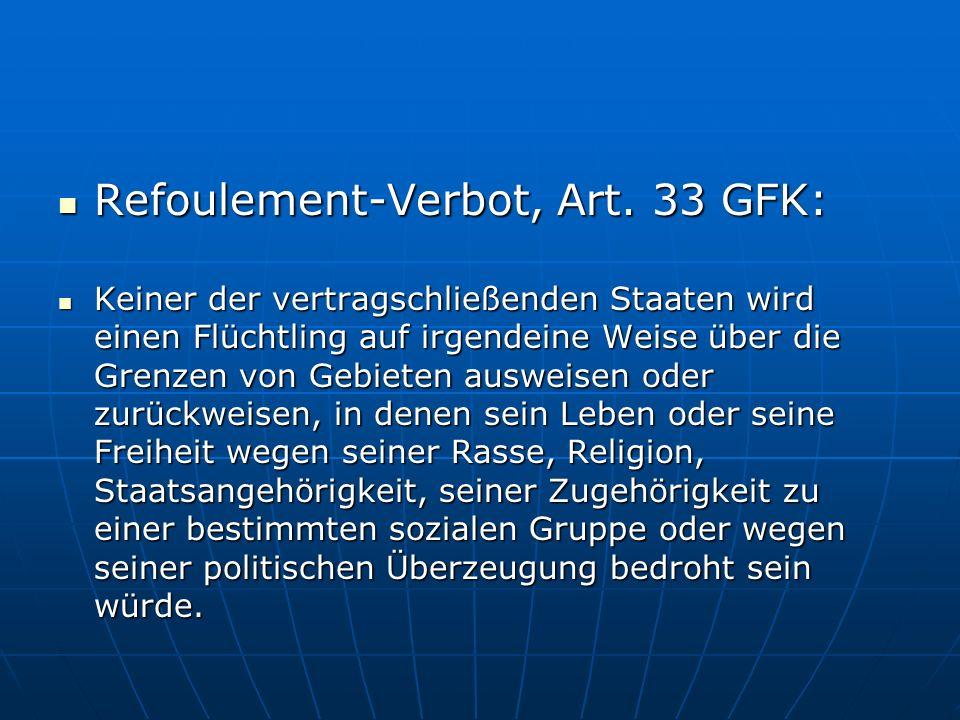 Refoulement-Verbot, Art.33 GFK: Refoulement-Verbot, Art.