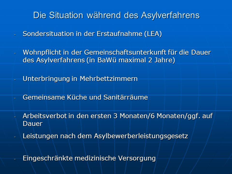 Die Situation während des Asylverfahrens - Sondersituation in der Erstaufnahme (LEA) - Wohnpflicht in der Gemeinschaftsunterkunft für die Dauer des Asylverfahrens (in BaWü maximal 2 Jahre) - Unterbringung in Mehrbettzimmern - Gemeinsame Küche und Sanitärräume - Arbeitsverbot in den ersten 3 Monaten/6 Monaten/ggf.
