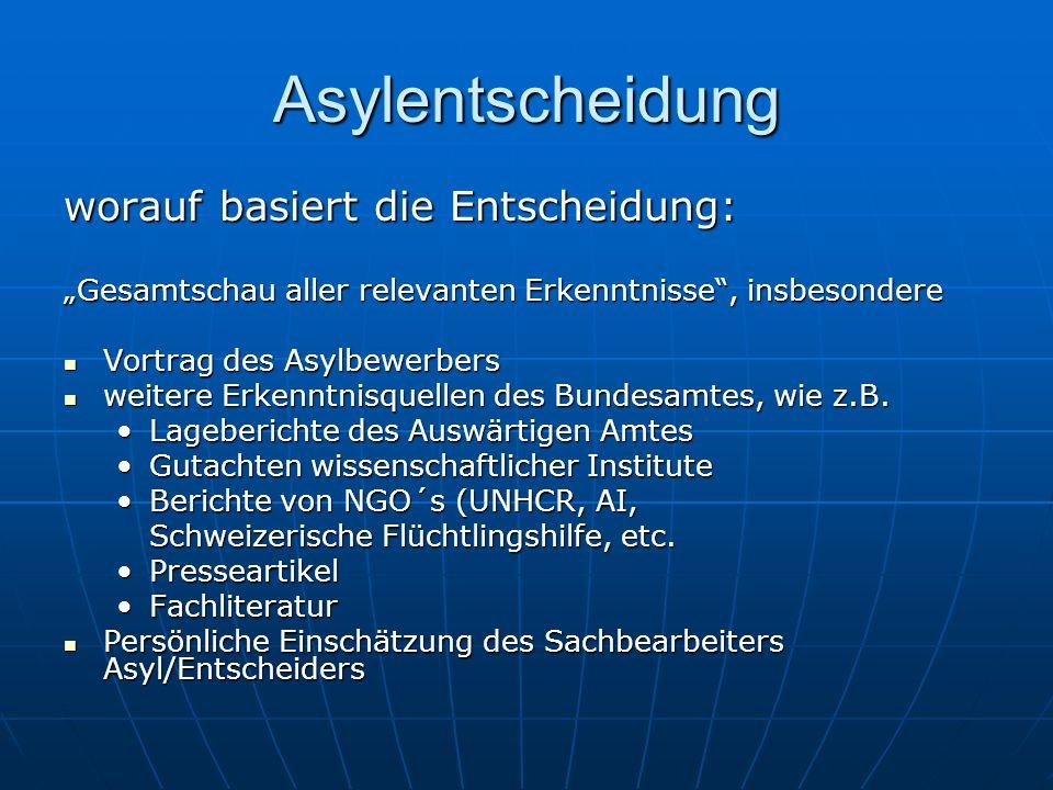 """Asylentscheidung worauf basiert die Entscheidung: """"Gesamtschau aller relevanten Erkenntnisse , insbesondere Vortrag des Asylbewerbers Vortrag des Asylbewerbers weitere Erkenntnisquellen des Bundesamtes, wie z.B."""