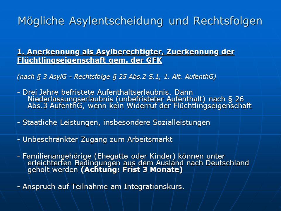 Mögliche Asylentscheidung und Rechtsfolgen 1.