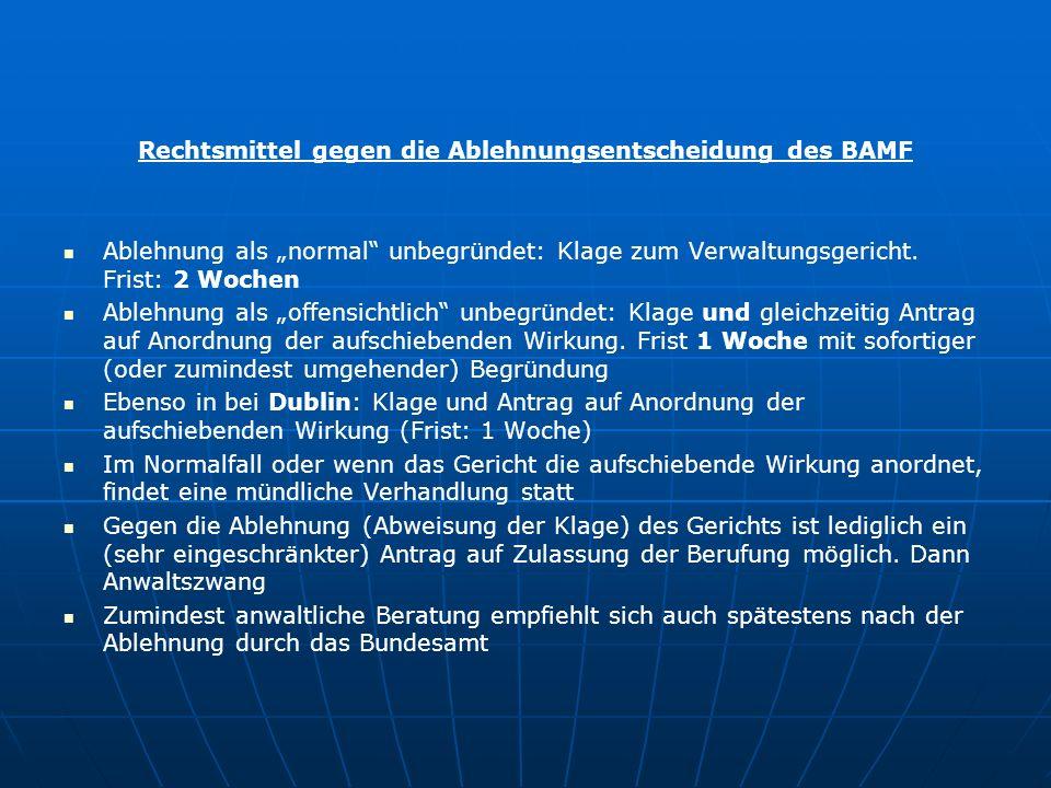 """Rechtsmittel gegen die Ablehnungsentscheidung des BAMF Ablehnung als """"normal unbegründet: Klage zum Verwaltungsgericht."""