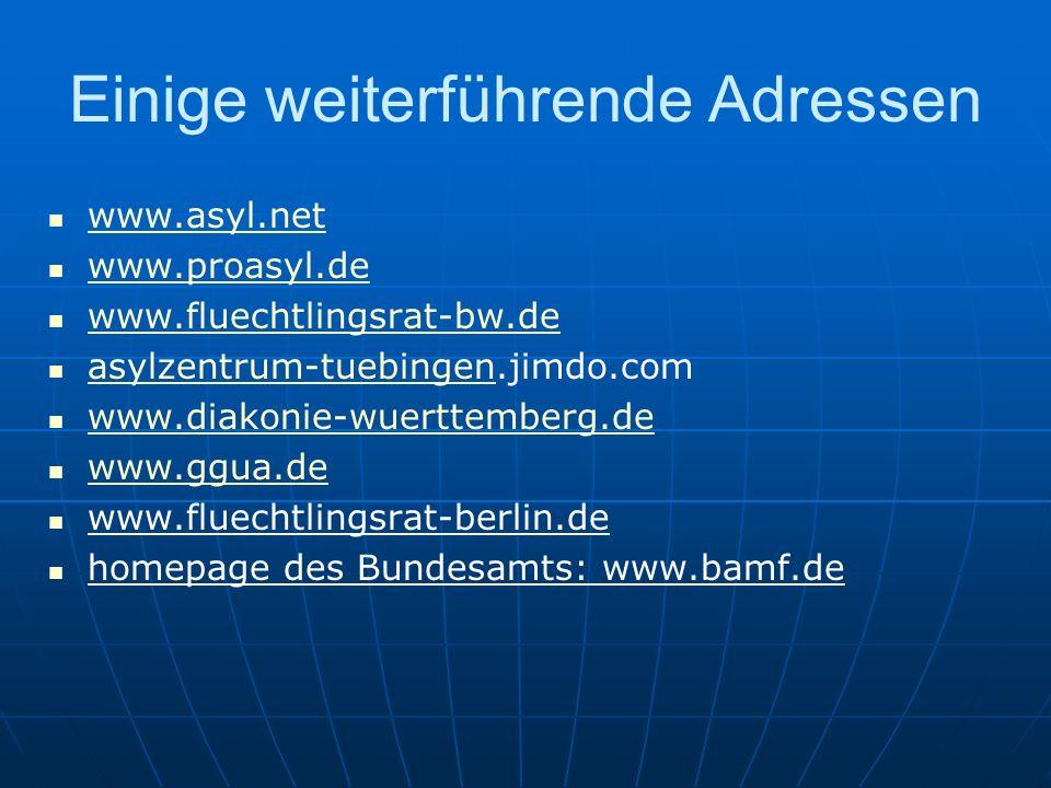 Einige weiterführende Adressen www.asyl.net www.proasyl.de www.fluechtlingsrat-bw.de asylzentrum-tuebingen.jimdo.com asylzentrum-tuebingen www.diakonie-wuerttemberg.de www.ggua.de www.fluechtlingsrat-berlin.de homepage des Bundesamts: www.bamf.de