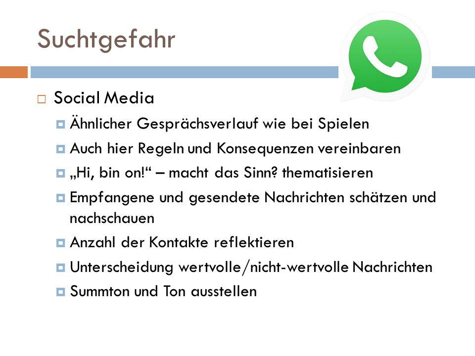 """Suchtgefahr  Hauptsache """"Always on – egal was  Facebook, Twitter, Whatsapp, Newschannel, google,….."""