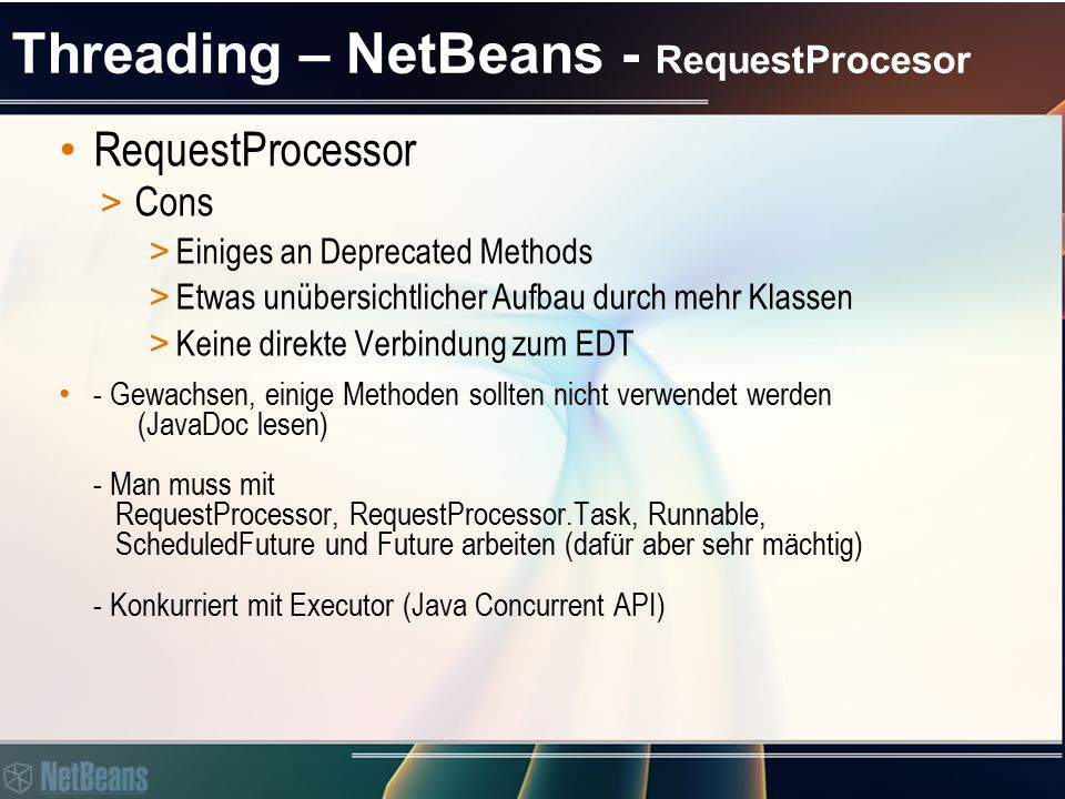 Threading – RequestProcesor - SwingWorker.RequestProcessor oder SwingWorker.