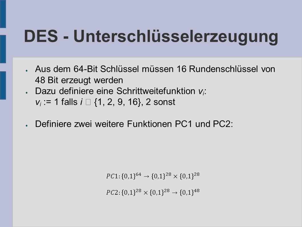 DES - Unterschlüsselerzeugung