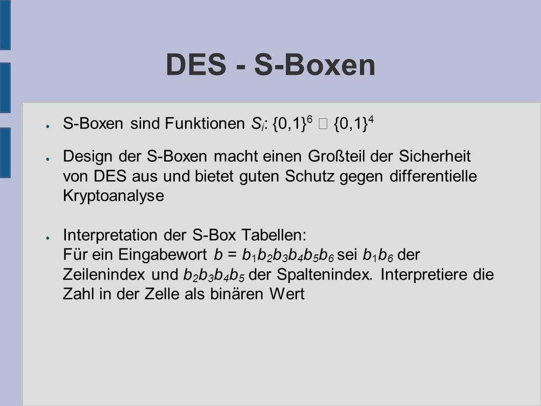 DES - S-Boxen