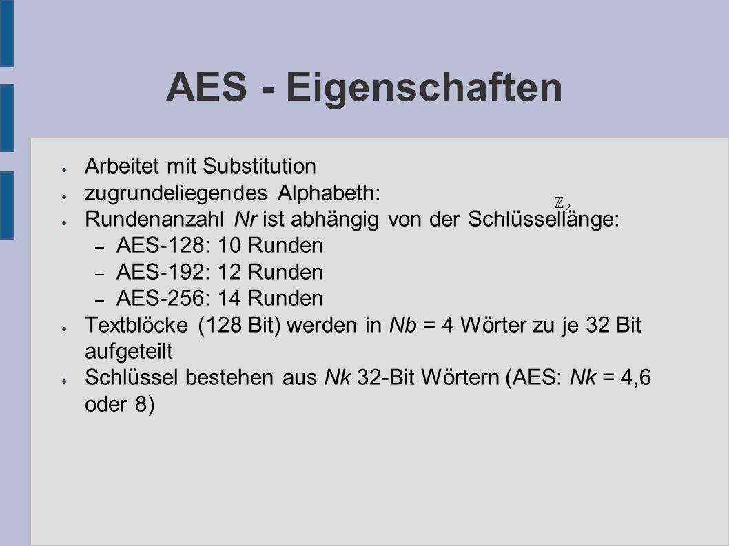 AES - Definitionen ● byte: Bitvektor der Länge 8 ● word: Bitvektor der Länge 32 (= 4 Byte) ● Klartext, Chiffretext: – Darstellung als Byte-Matrix: ➔ Höhe 4 Zeile, Breite Nb = 4 Spalten ➔ Jede Spalte entspricht einem word – Beispielsweise: