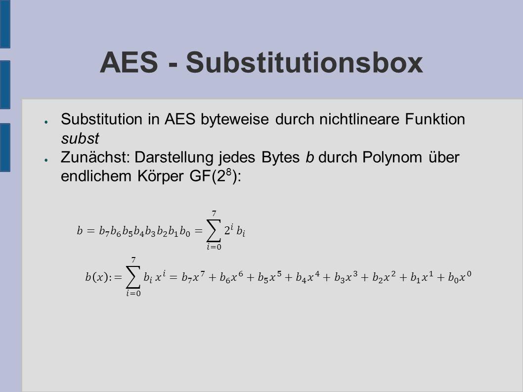 AES - Substitutionsbox ● Addition in GF(2 8 ): Bitweise XOR ● Multiplikation in GF(2 8 ): (m ist irreduzibles Polynom) ● Inverses: Es existiert stets ein eindeutiges Inverses b -1 zu b≠0, so dass b -1 * b ≡ 1 mod m ● Setze 0 -1 := 0.