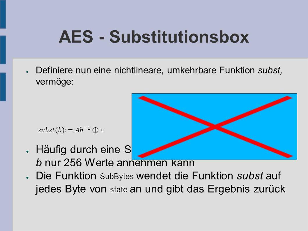 AES – Zeilenverschiebung ● Die Funktion ShiftRows arbeitet folgendermaßen: – erste Zeile: keine Änderung – zweite Zeile: zyklischer Linksshift um 1 Byte – dritte Zeile: zyklischer Linksshift um 2 Bytes – vierte Zeile: zyklischer Linksshift um 3 Bytes