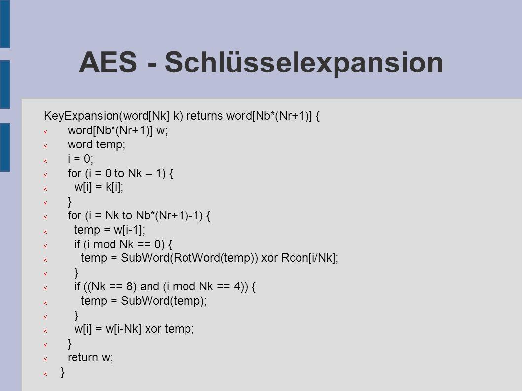 AES - Schlüsselexpansion ● Rcon[i] := ({02} i-1, {00}, {00}, {00}) ● Die Potenzreihe von {02} in GF(2 8 ): ● Funktion SubWord: Wendet die S-Box subst auf jedes byte des Wortes an ● Funktion RotWord: Zyklischer Linksshift um 1 byte:
