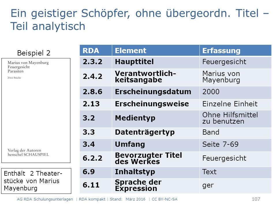 108 RDAElementErfassung 17.8 In der Manifestation verkörpertes Werk Mayenburg, Marius von, 1972-.