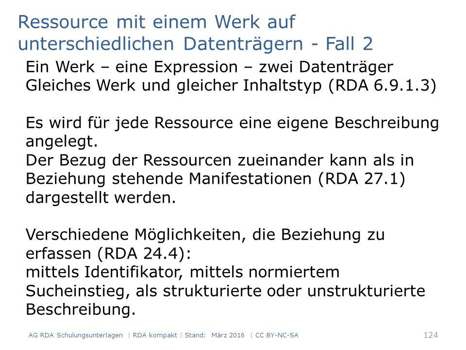 RDAElementErfassung 2.3.2Haupttitel Microsoft Windows Server 2008 2.3.4Titelzusatzdas Handbuch 2.4VerantwortlichkeitsangabeThomas Joos 3.2Medientypohne Hilfsmittel zu benutzen 3.3DatenträgertypBand 3.4Umfang1316 Seiten 6.9InhaltstypText 27.1 In Beziehung stehende Manifestation Erscheint als Set zusammen mit der eBook-Version auf DVD-ROM unter einer gemeinsamen ISBN Ressource mit einem Werk auf unterschiedlichen Datenträgern - Fall 2 Ein Werk – eine Expressionen – zwei Datenträger – zwei Manifestationen AG RDA Schulungsunterlagen | RDA kompakt | Stand: März 2016 | CC BY-NC-SA 125
