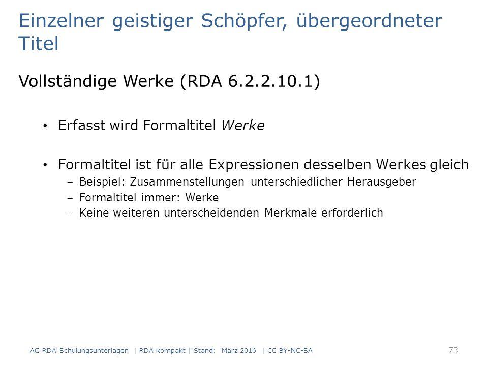 74 RDAElementErfassung 2.3.2HaupttitelSämtliche Werke 2.4.2 Verantwortlich- keitsangabe, die sich auf den Haupttitel bezieht Franz Kafka 2.4.2 Verantwortlichkeits- angabe, die sich auf den Haupttitel bezieht mit einem Nachwort von Peter Höfle 6.2.2 Bevorzugter Titel des Werks Werke 17.8 In der Manifestation verkörpertes Werk Kafka, Franz, 1883-1924.