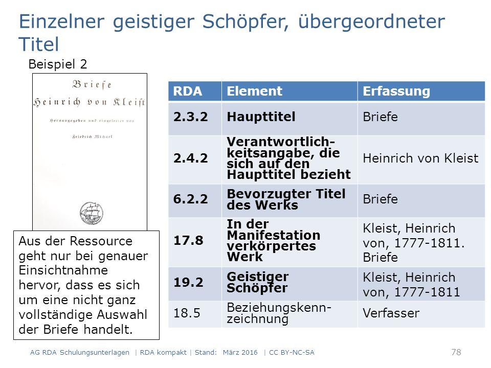 Einzelner geistiger Schöpfer, übergeordneter Titel Sonstige Zusammenstellungen von mehreren Werken (RDA 6.2.2.10.3) – unvollständige Zusammenstellungen – Zusammenstellungen, die ausschließlich oder überwiegend aus Formen bestehen, die nicht in der Liste zu RDA 6.2.2.10 und RDA 6.2.2.10.2 D-A-CH vorkommen Gelten gemäß RDA 6.2.2.10 D-A-CH als unter diesem Titel bekannt Übergeordneter Titel wird zum bevorzugten Titel der Zusammenstellung 79 AG RDA Schulungsunterlagen | RDA kompakt | Stand: März 2016 | CC BY-NC-SA