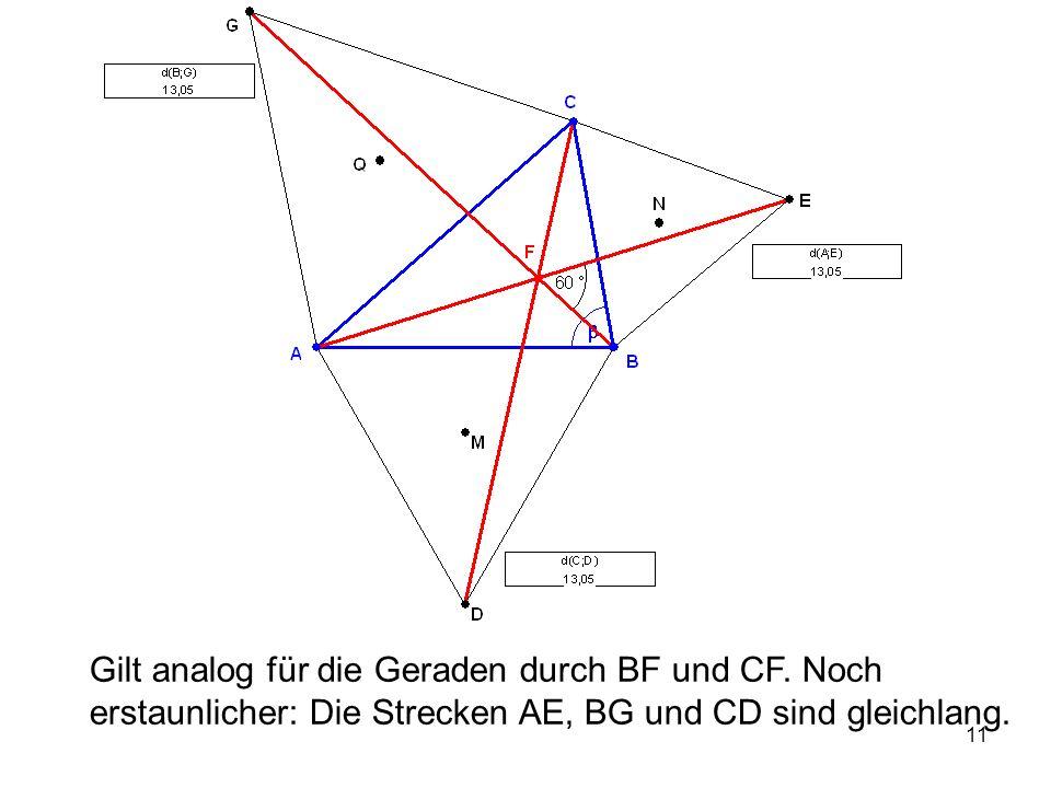 12 Begründung: Drehung um B mit 60°: A → D, E → C, also AE → DC Drehung um A mit 60°: D → B, C → G, also DC → BG