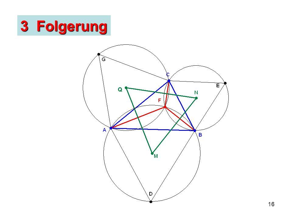 17 Satz von Napoleon (??): Die Mittelpunkte der drei gleichseitigen Dreiecke bilden selbst auch ein gleichseitiges Dreieck.