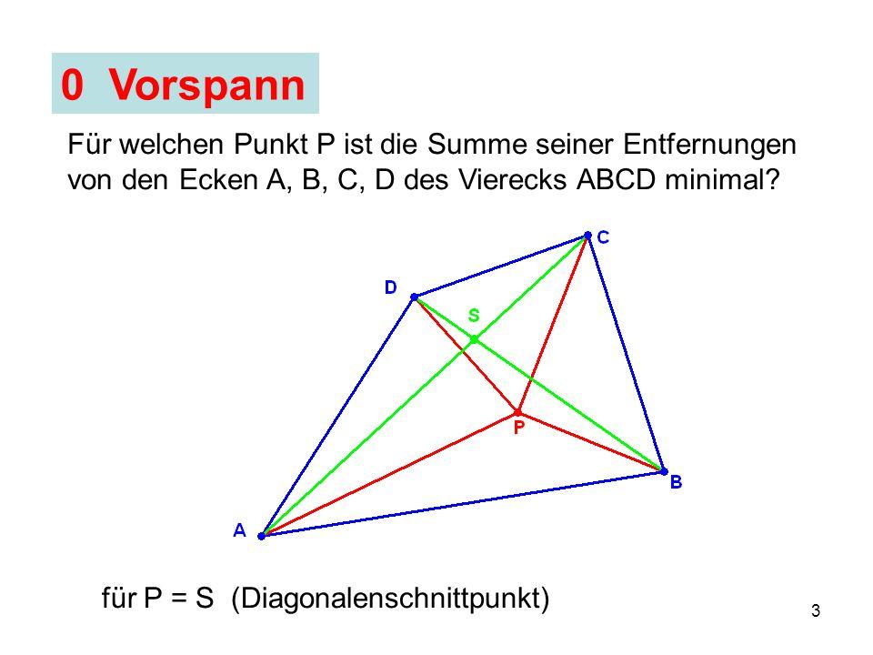 4 1 Problem Für welchen Punkt P ist die Summe seiner Entfernungen von den Ecken A, B, C des Dreiecks ABC minimal?
